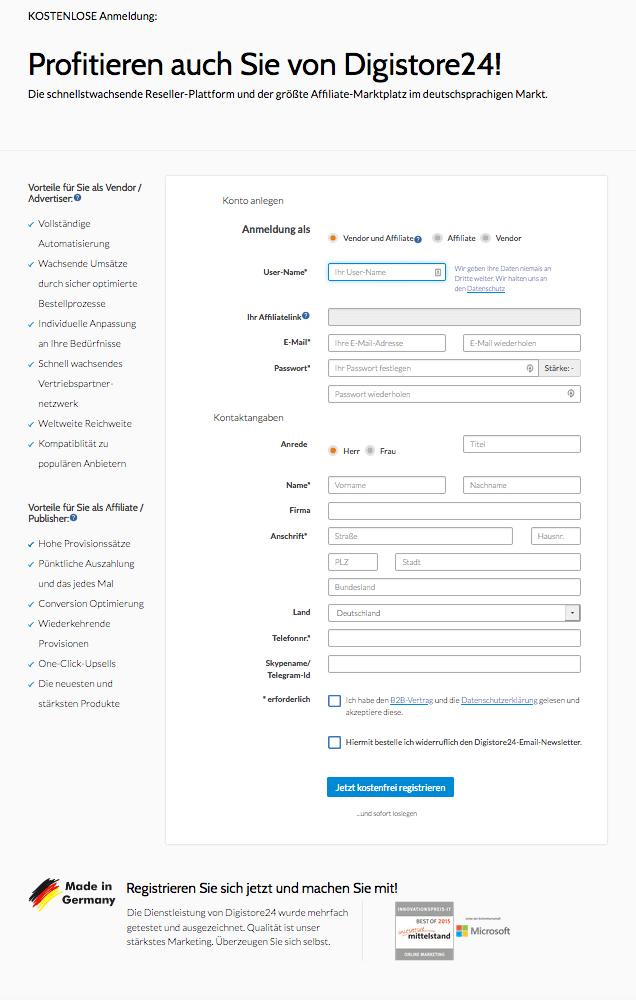 Digistore24 Registrierung